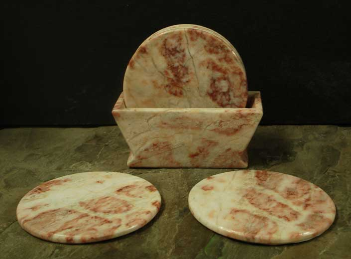 Rosey Dawn Marble Coasters