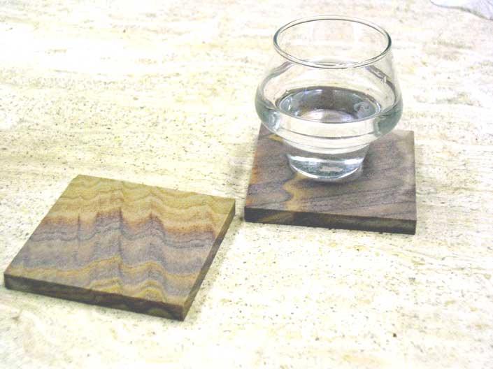 Oak Wood Brown Stone Coasters